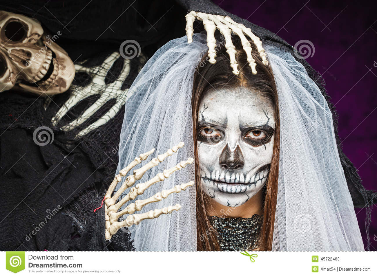 Young Woman A Bride In A Veil Day Of The Dead Mask Skull Face Art ...