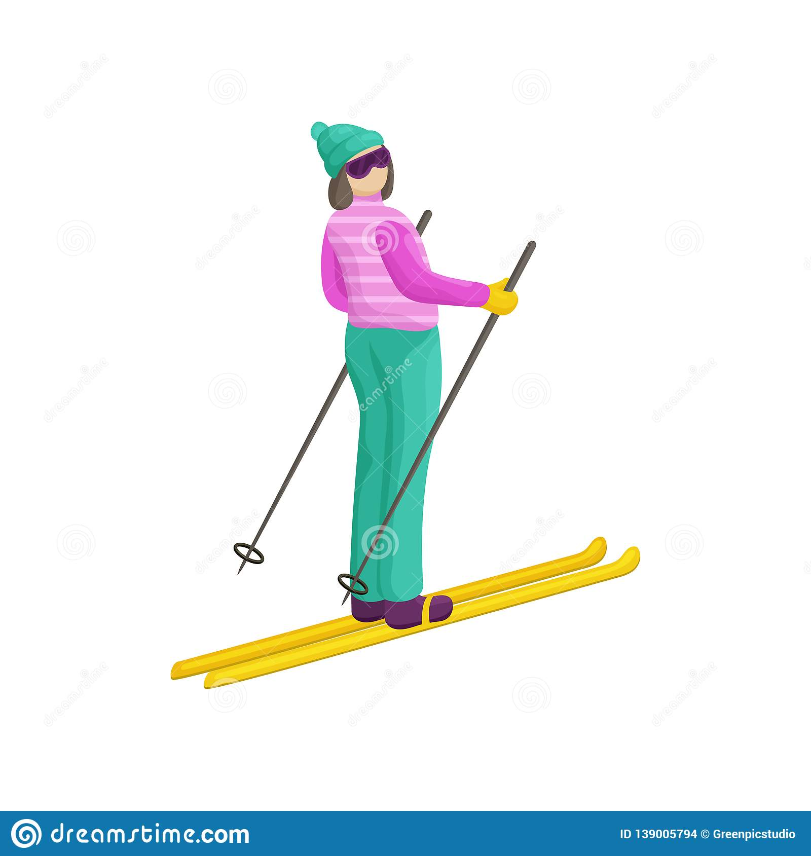 A young woman in a bright ski suit wants descend from the mountain