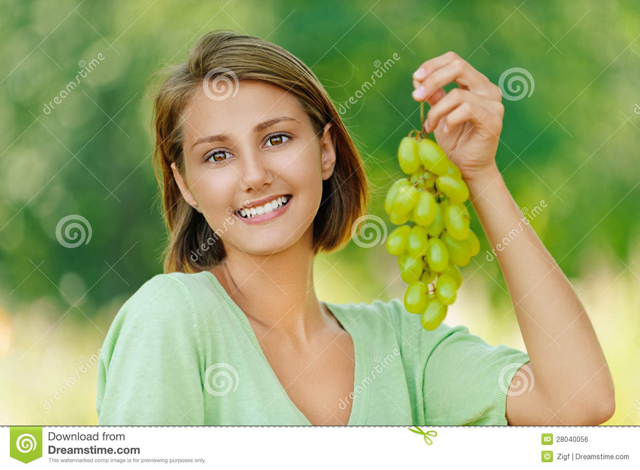 Young Woman With Bunch Of Grapes Stock Photo Image Of