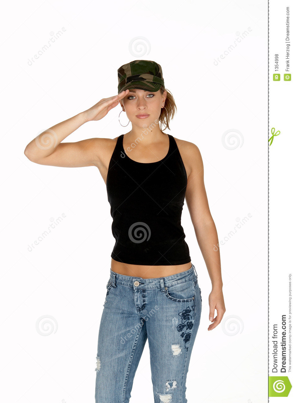Young Woman In Camouflage Hat Saluting Stock Photo Image