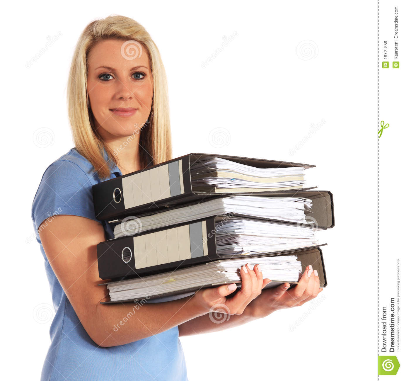 Young woman carrying documents