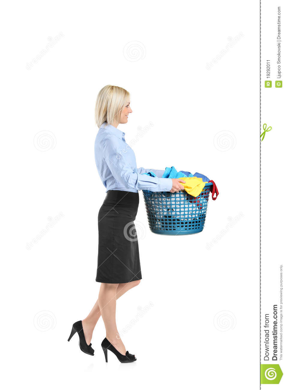 Young Woman Carrying A Laundry Basket Stock Image Image