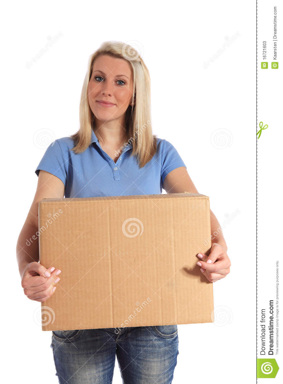 Young Woman Carrying A Moving Box Stock Image Image Of