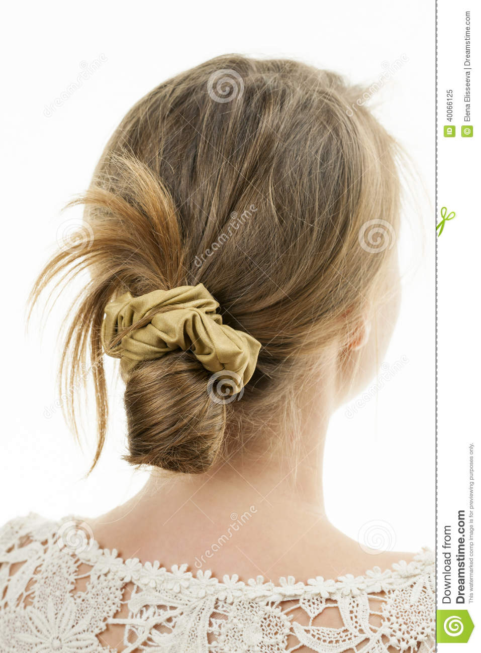 Young Woman With Casual Messy Bun Hairdo Stock Image Image Of