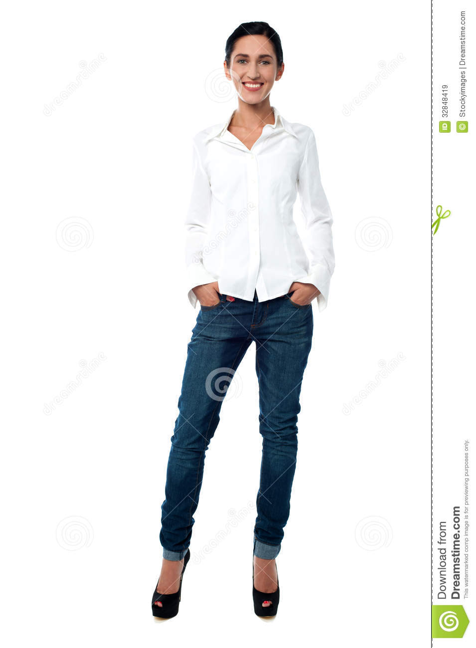 young woman in casual wear stock image image of posing 32848419
