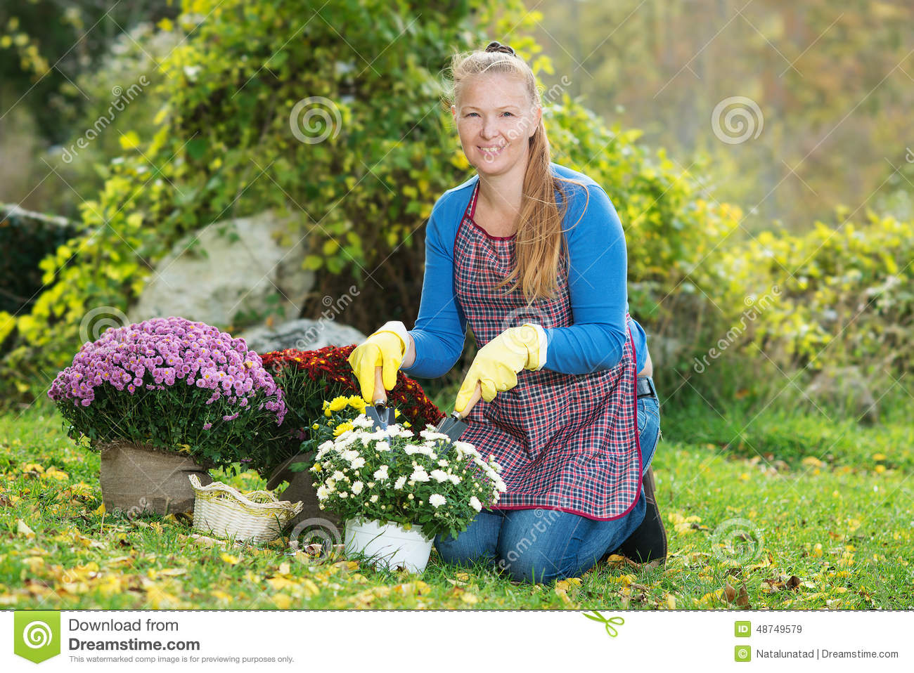 Young woman with a child are planting flowers stock photo image