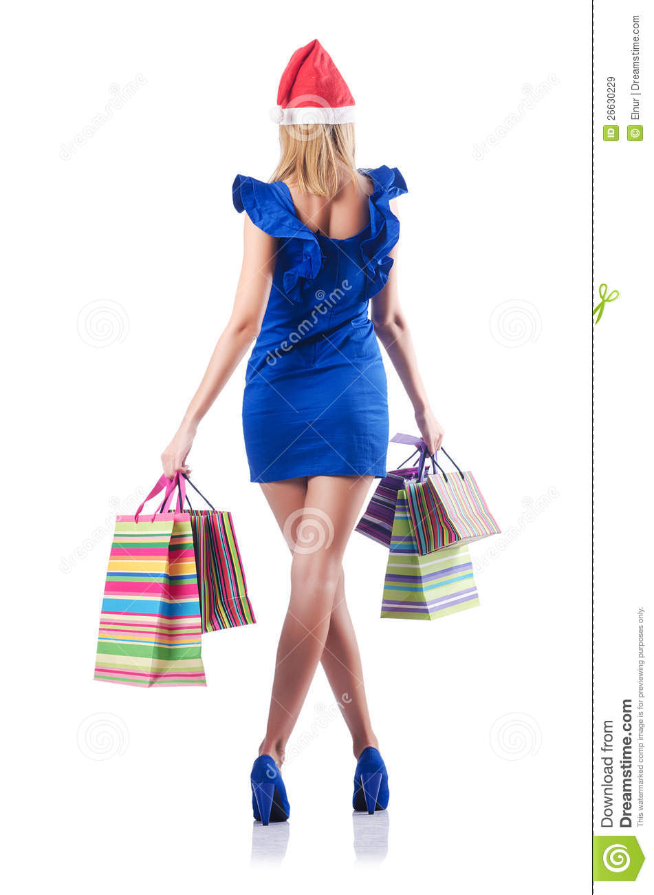 Young Woman Christmas Shopping Concept Royalty Free