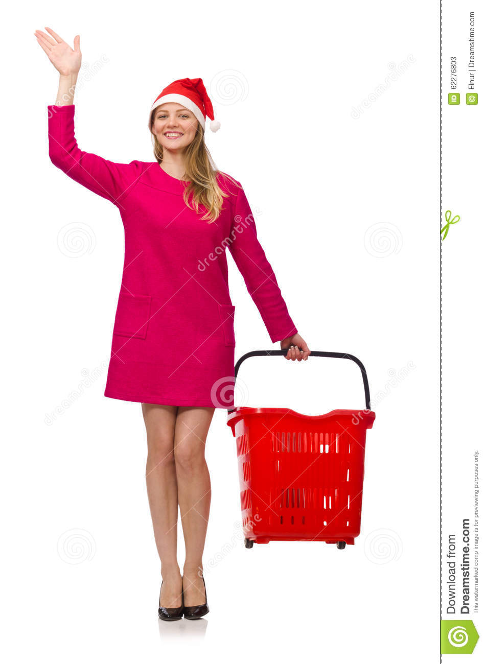 The Young Woman In Christmas Shopping Concept Stock Photo
