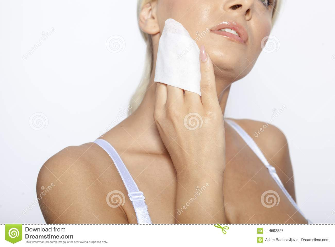 Young Woman Clean Face With Wet Wipes Stock Image - Image of clean ... 9436fb261