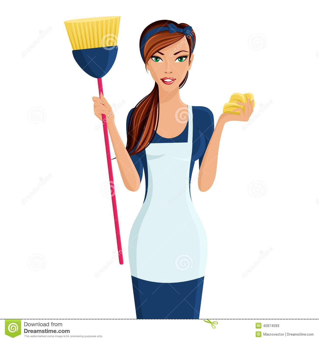 young woman cleaner stock vector illustration of