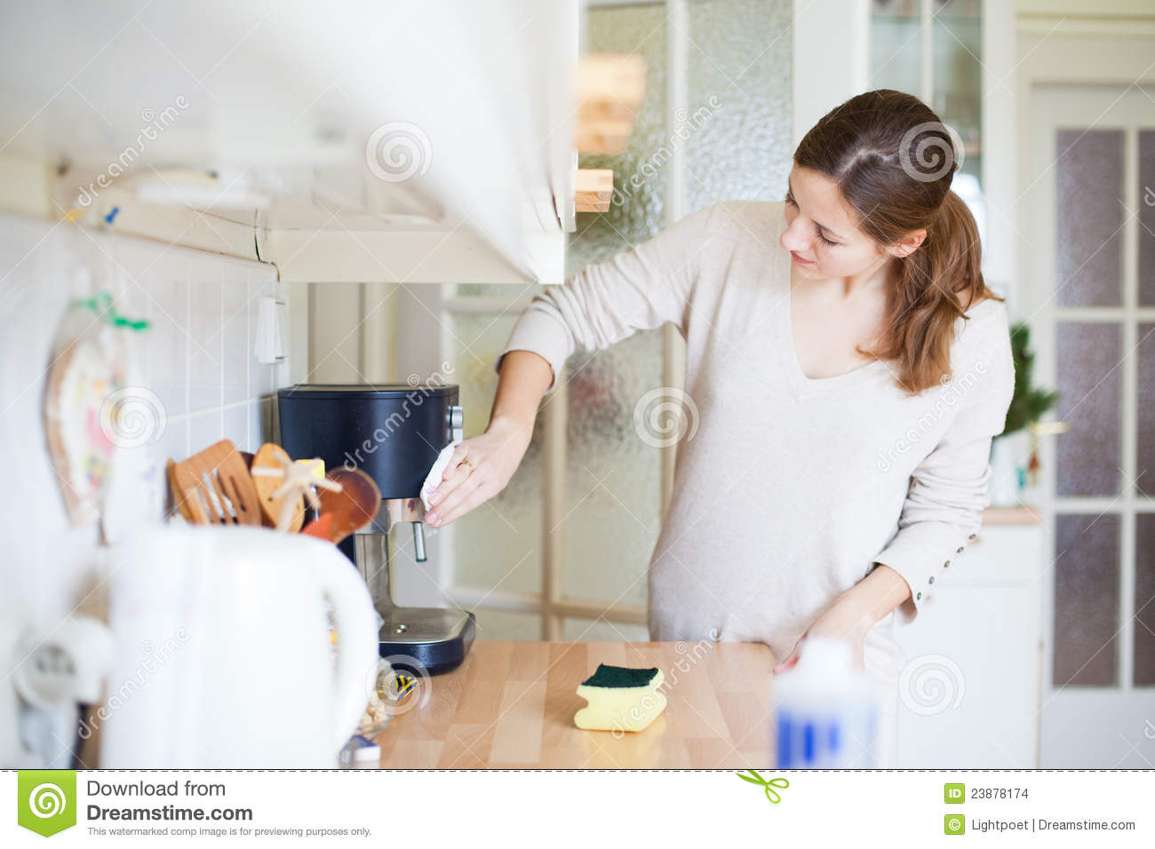 Young Woman Cleaning The Kitchen Stock Photo - Image of ...