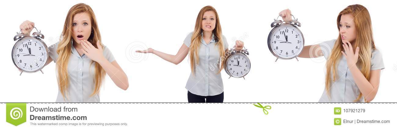 The young woman with clock on white