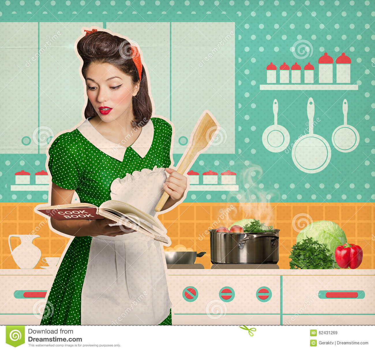 Young woman cooking and reading recipe cook book in her for Classic housewife