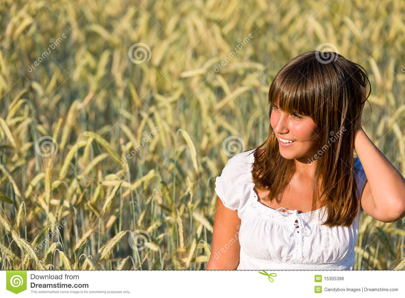 Young Woman In Corn Field Enjoy Sunset Royalty Free Stock ...
