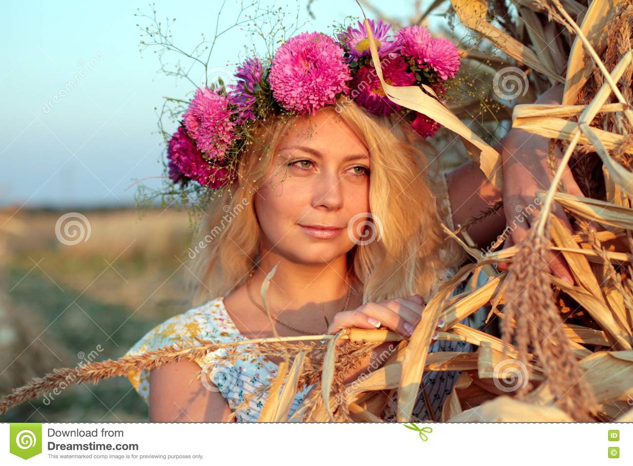 Young Woman In Corn Haystack With Wreath Stock Photography ...