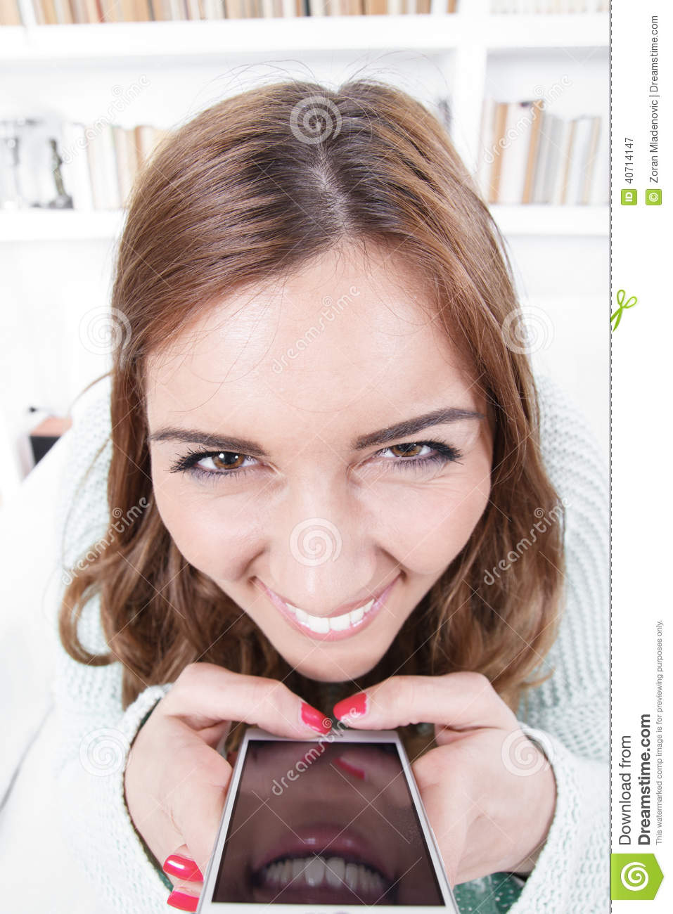 Young woman with crazy face expression