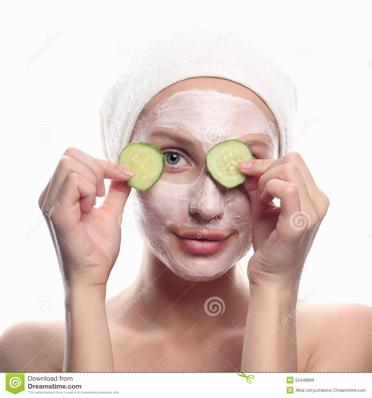 With Cosmetic Young Mask Of Woman - Image Stock Cucumber
