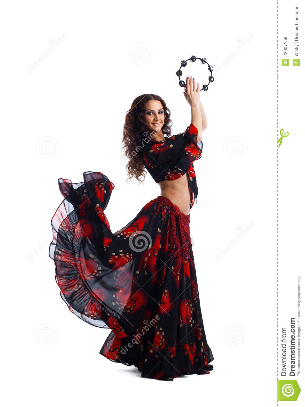 Young Woman Dance In Gypsy With Tambourine Royalty Free ...
