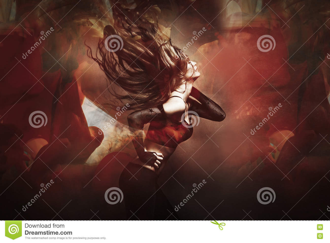 Young woman dancing composite photo