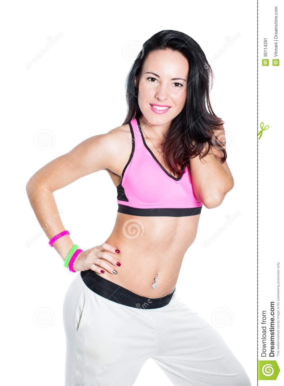 Young woman dancing isolated on white background. Happy cheerful female enjoying fitness