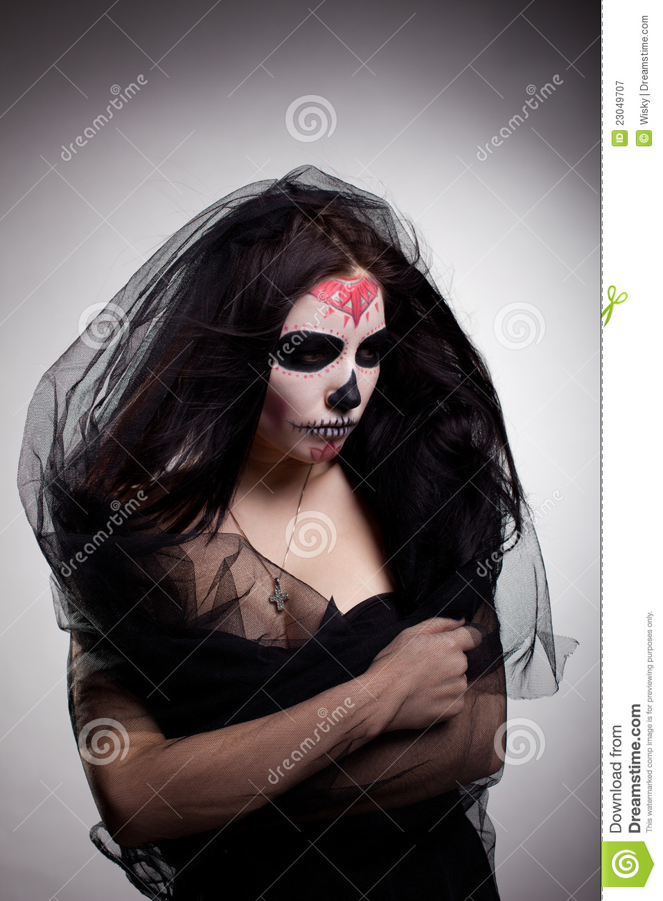 Young Woman Day Dead Mask Skull Face Art