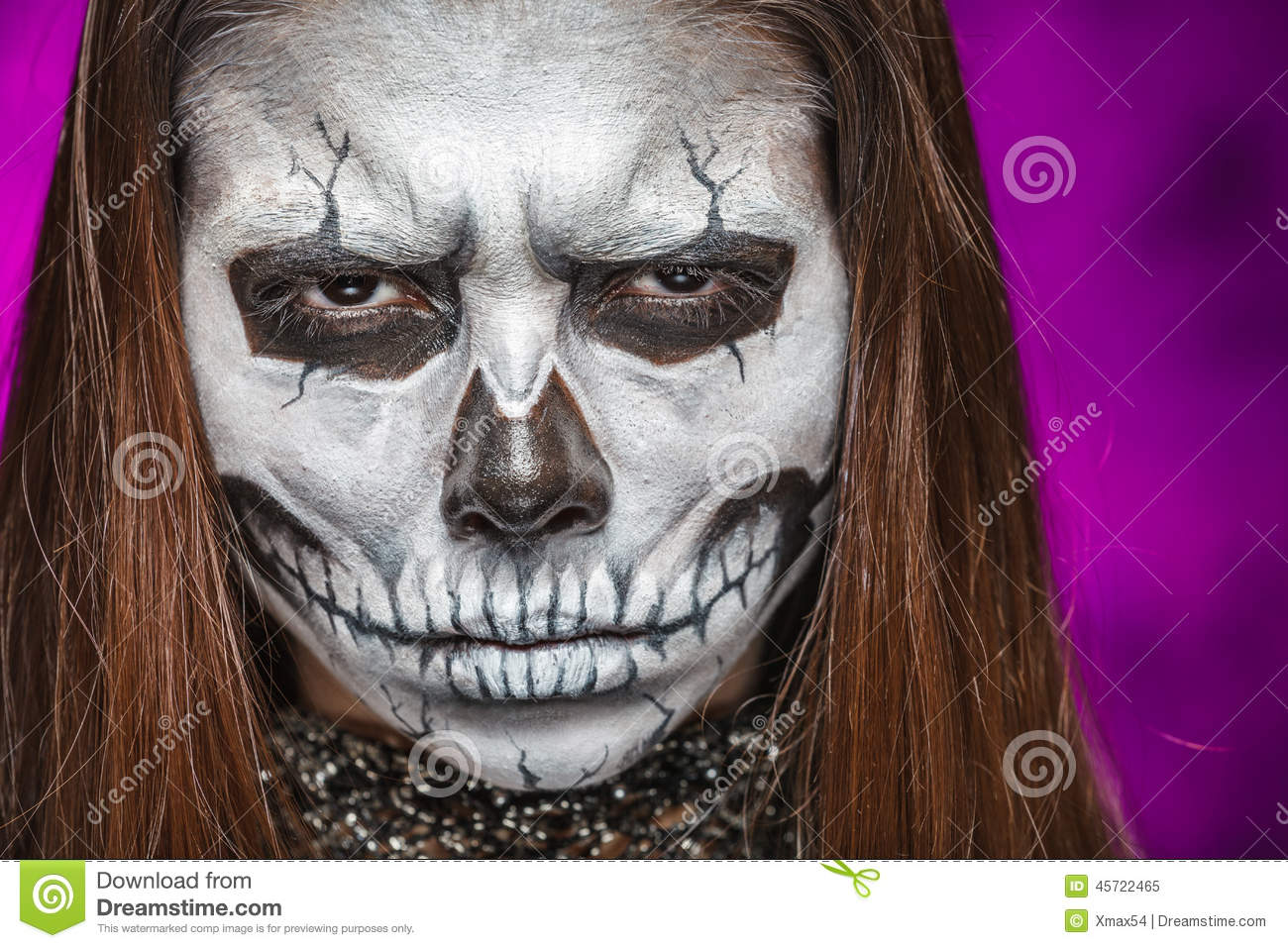 download young woman in day of the dead mask skull face art stock image