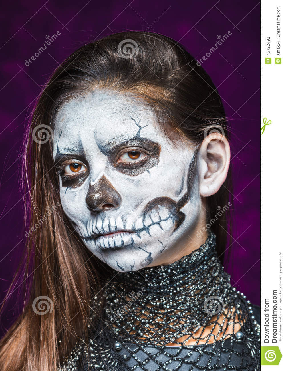 Young Woman In Day Of The Dead Mask Skull Face Art. Stock Photo ...