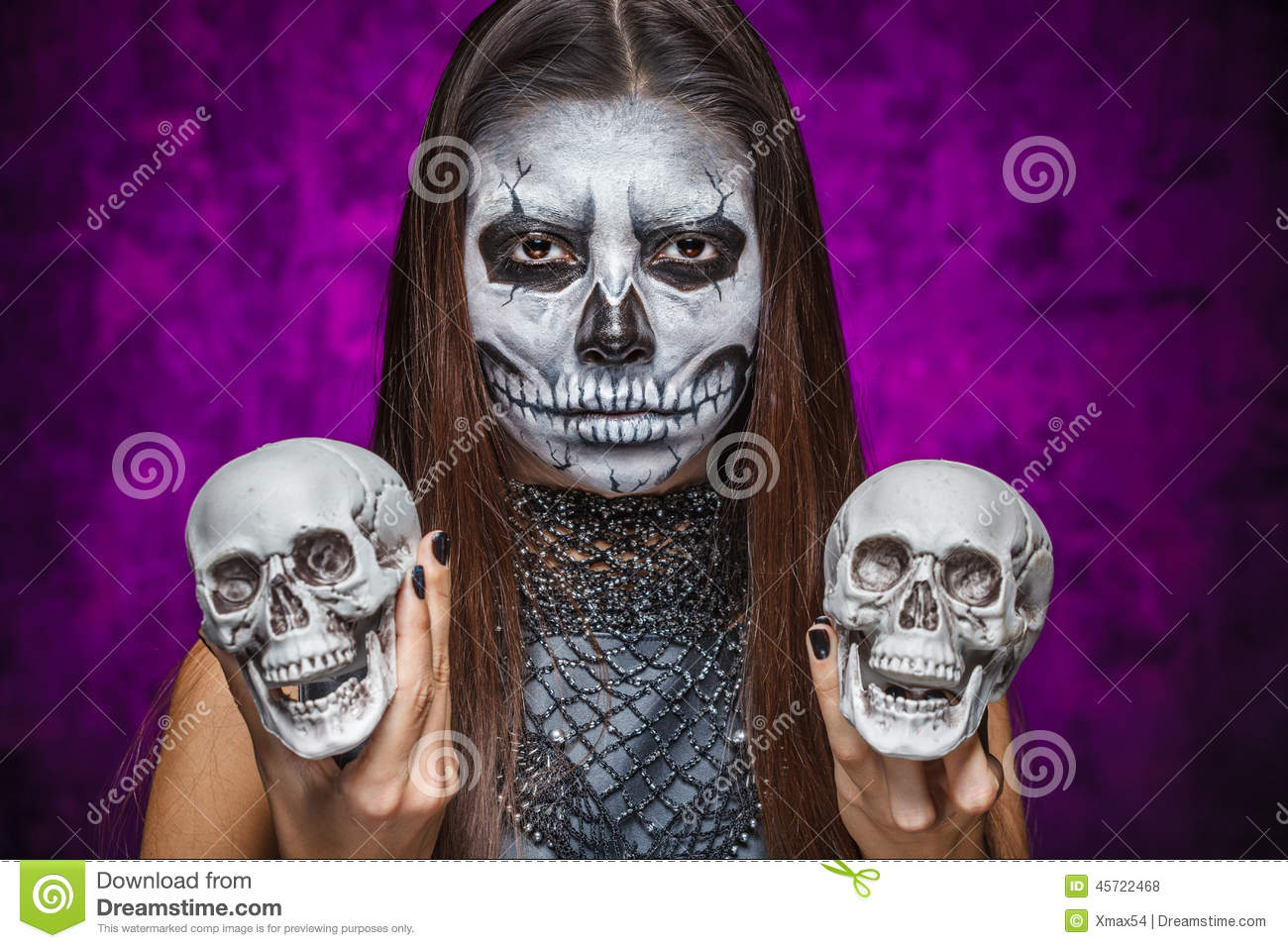 Young Woman In Day Of The Dead Mask Skull Face Art With Two Skul ...