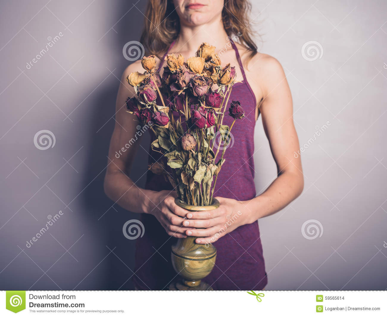 Young Woman With Dead Flowers Stock Photo Image Of Bouquet Grief