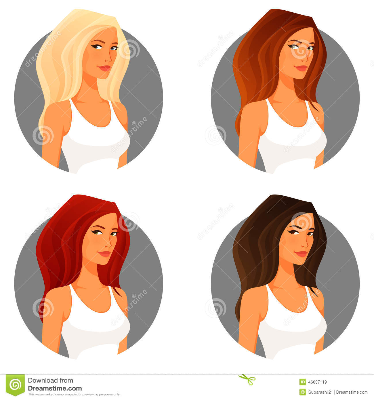 Young Woman With Different Hair Color Stock Vector Illustration Of
