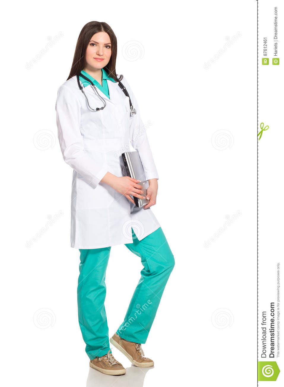 Young Woman Doctor or Nurse with Laptop