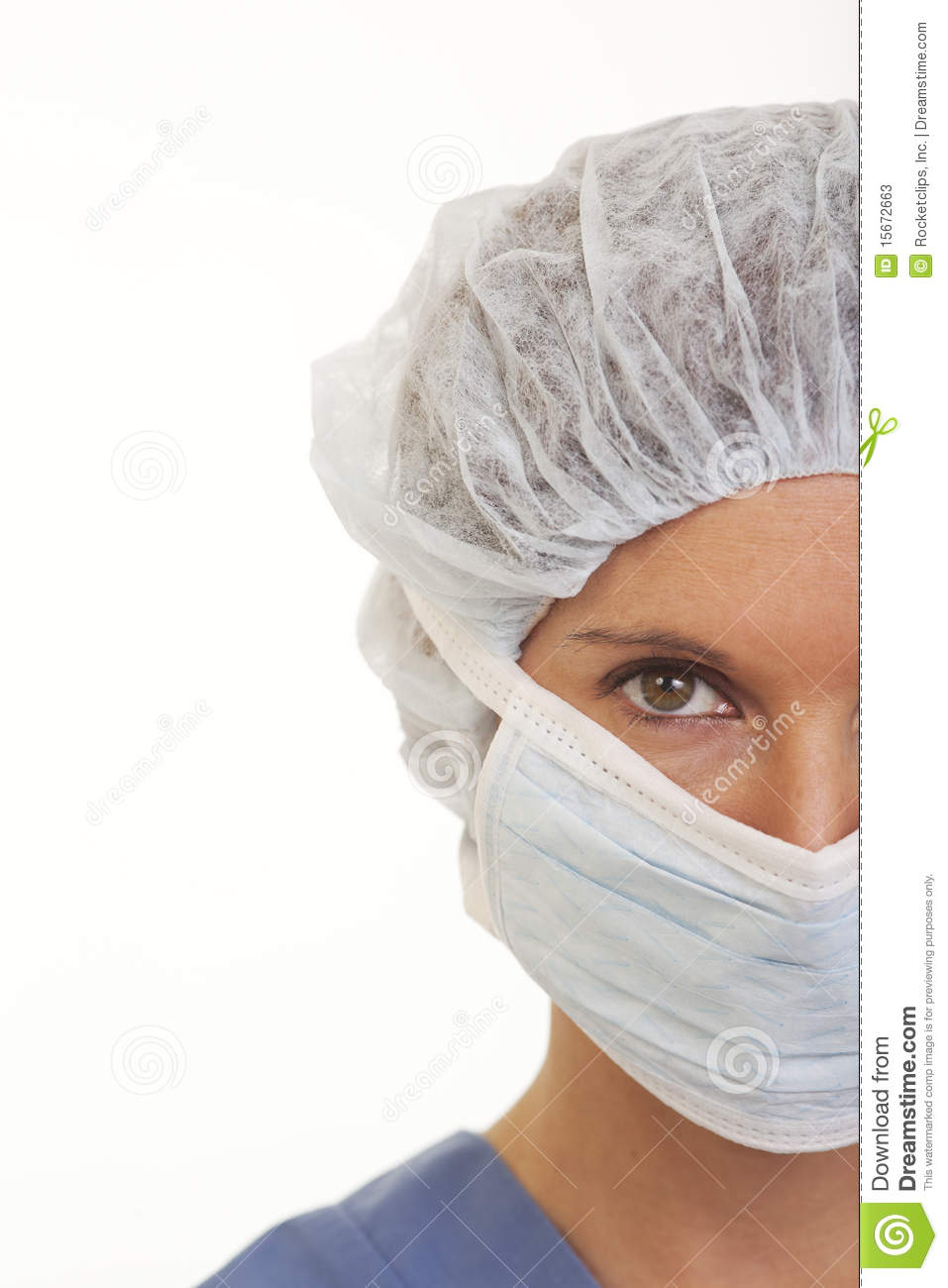 Download Young Woman Doctor In Scrubs With Mask And Cap Stock Image - Image of nurse, female: 15672663