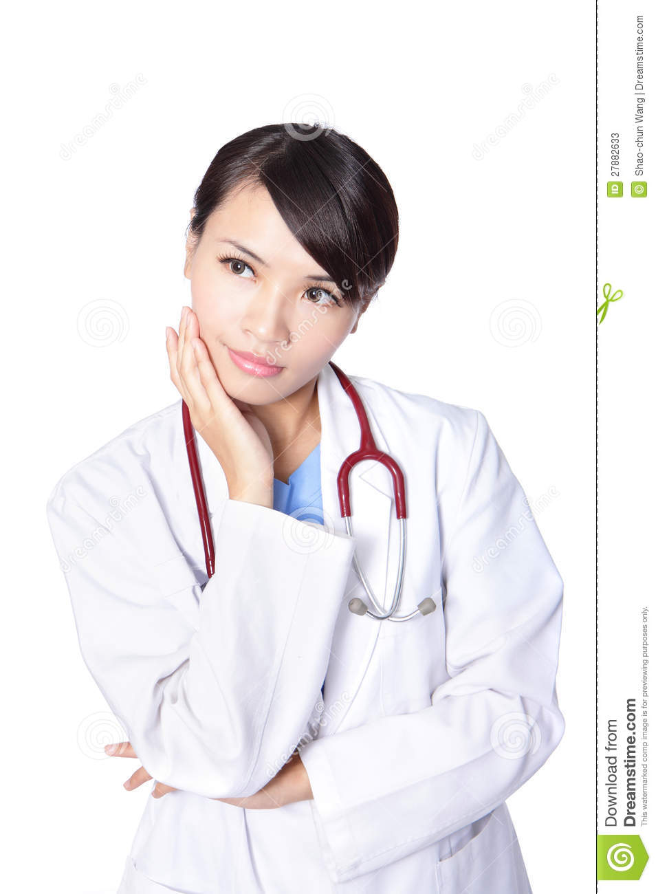 Thoughtful young woman doctor with funny face isolated over white ...