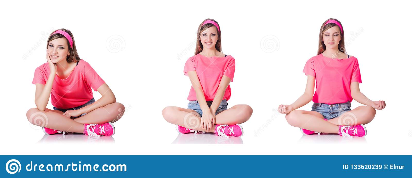 The young woman doing exercises on white