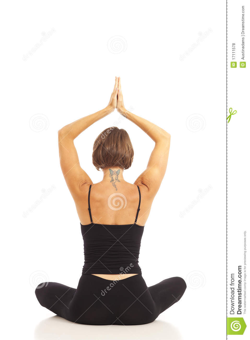 Young Woman Doing Namaste Hands Pose Stock Photo Image