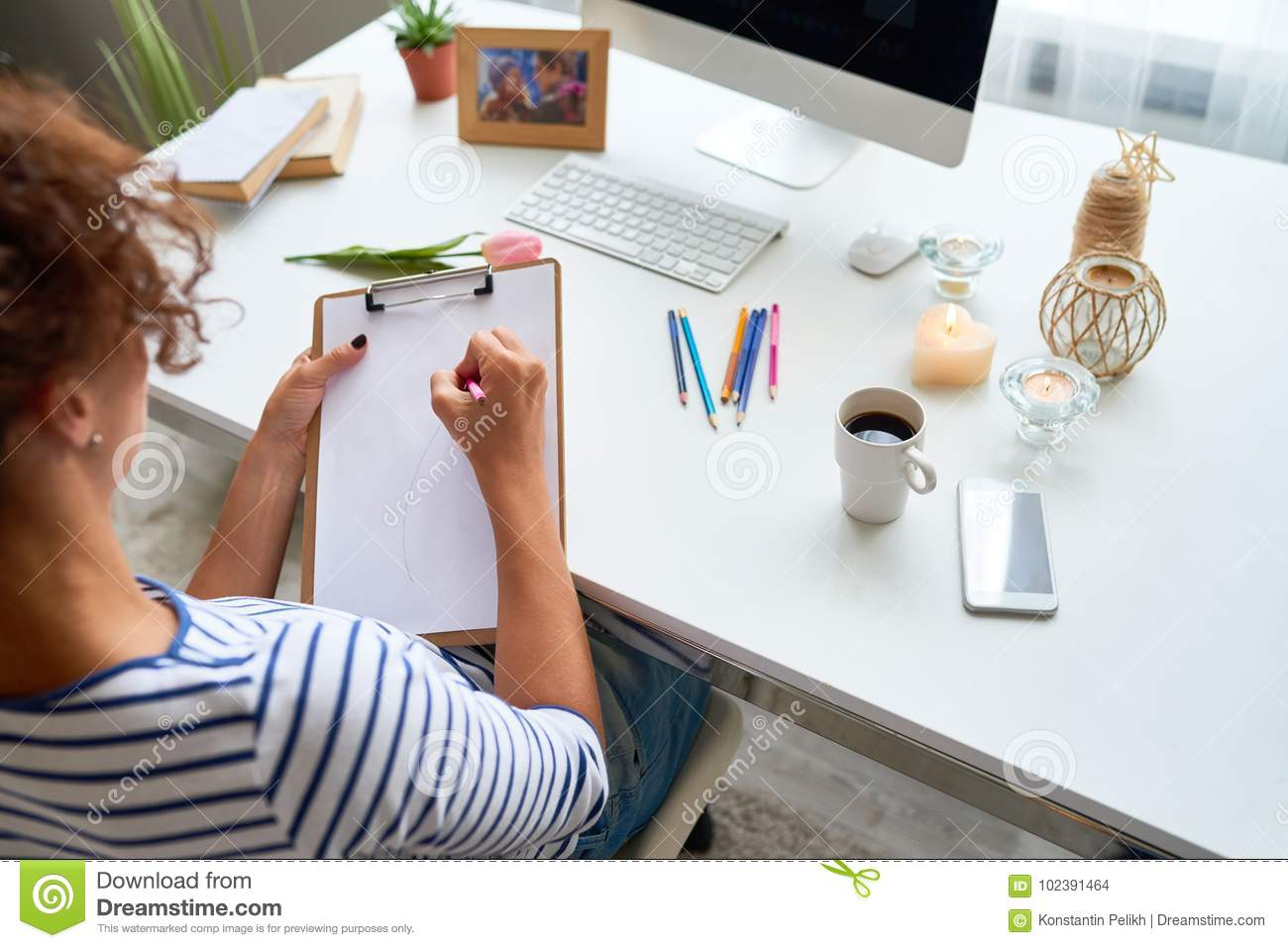 Young Woman Drawing At Home Stock Photo - Image of hobby, high ...