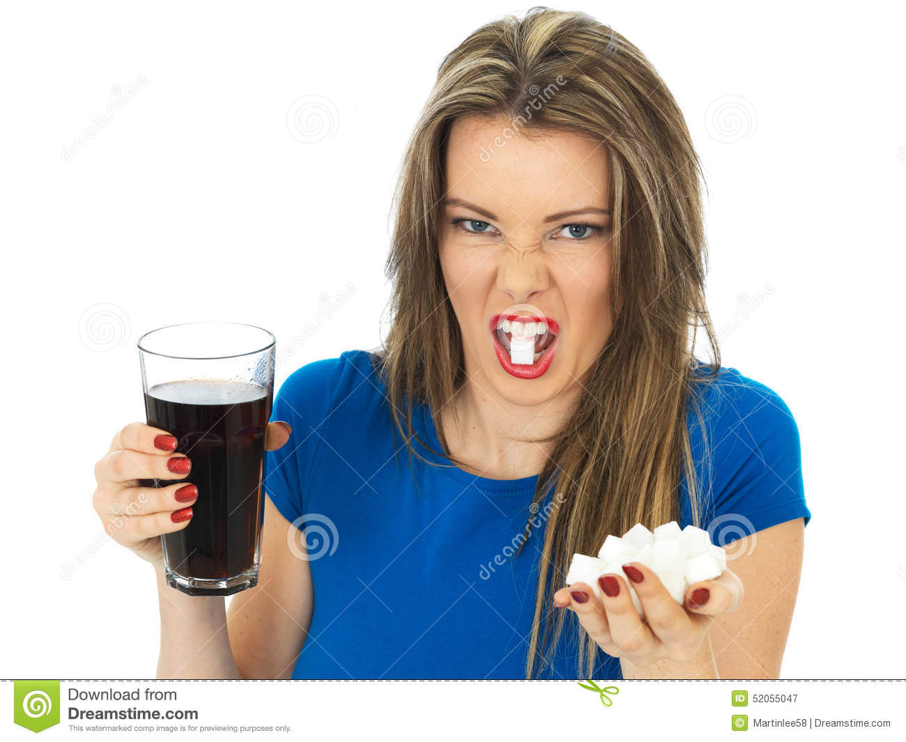 Young Woman Drinking High Sugar Fizzy Drink