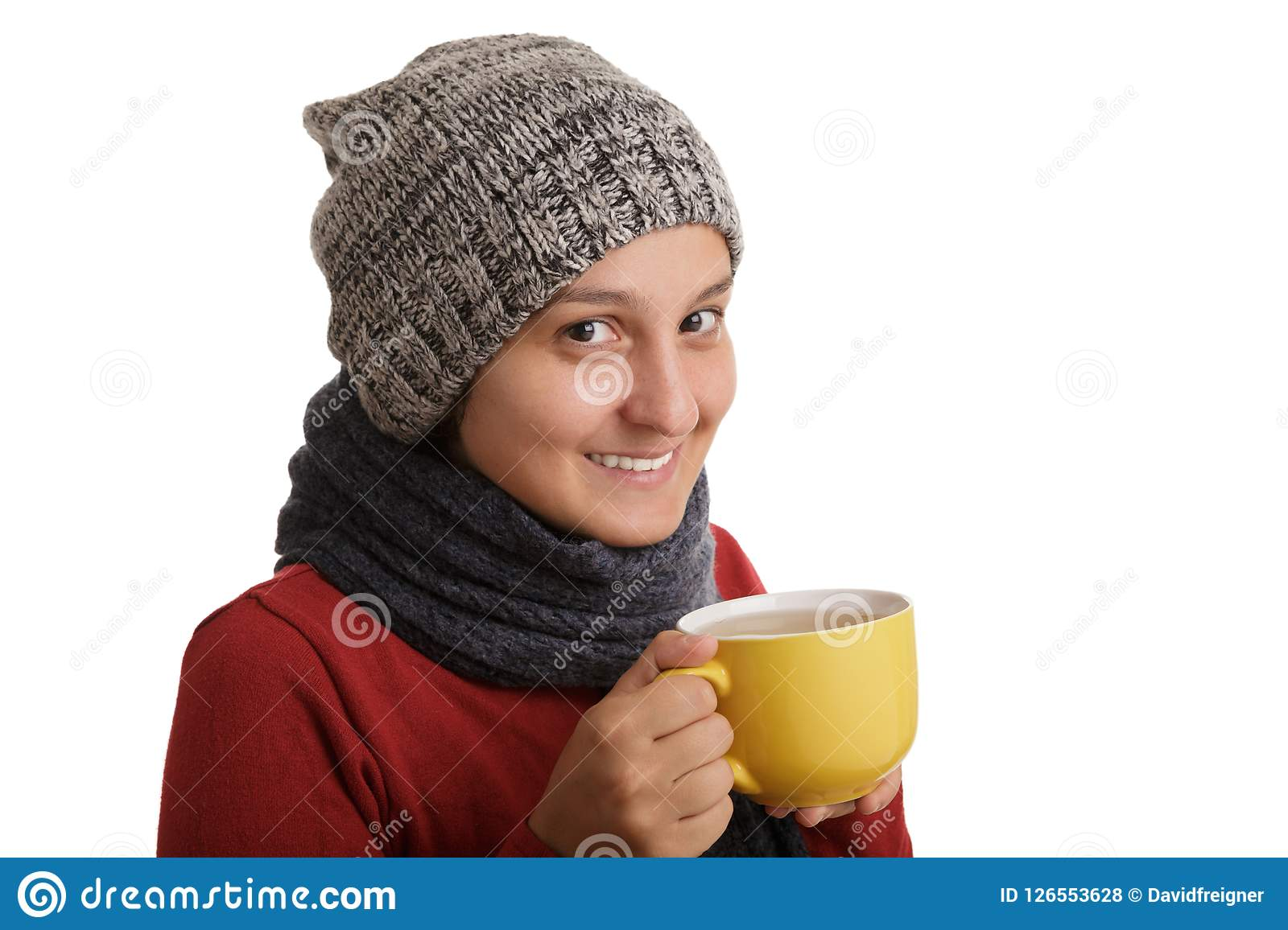 a35c4bb5e603 A Young Woman Drinks A Cup Of Hot Tea In The Winter Time Isolated On ...