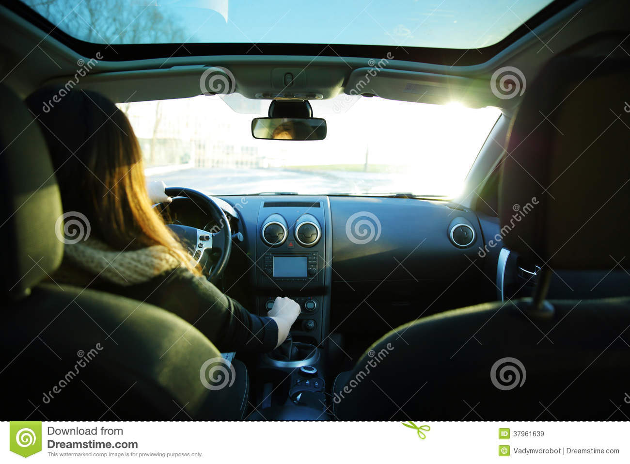 young woman driving a car royalty free stock images image 37961639. Black Bedroom Furniture Sets. Home Design Ideas