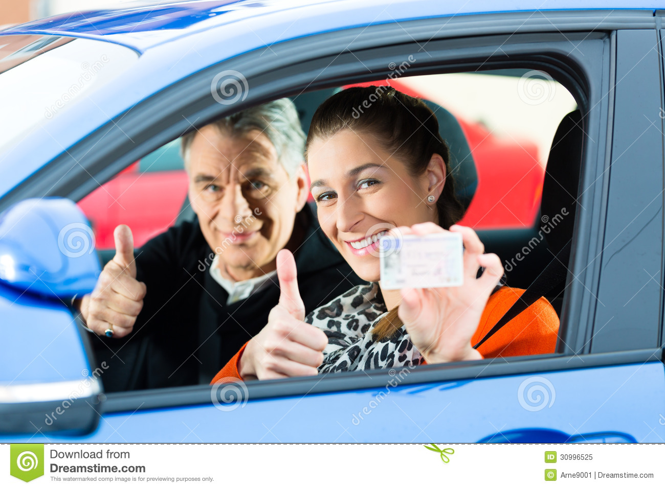 Young Woman At Driving Lesson Stock Image - Image of proud ...