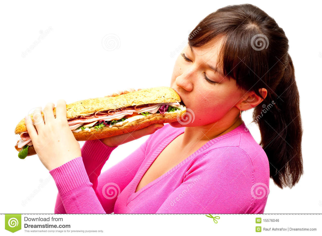 Young Woman Eating A Freshly Made Sub Sandwich Royalty Free Stock ...