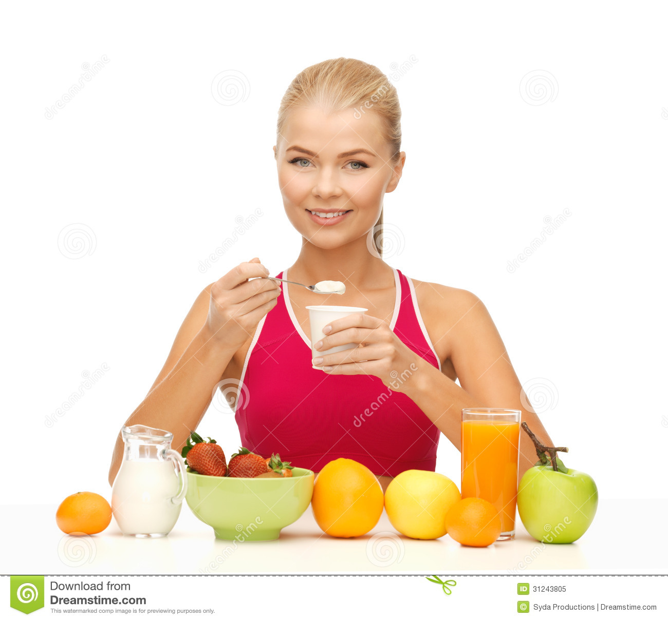 Young Woman Eating Healthy Breakfast Royalty Free Stock Photo - Image ...