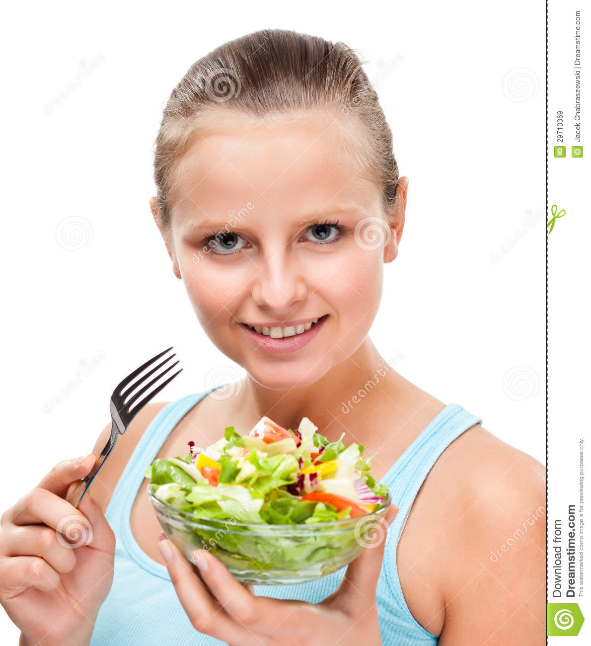 Young Woman Eating Vegetable Salad On White Background Royalty Free ...