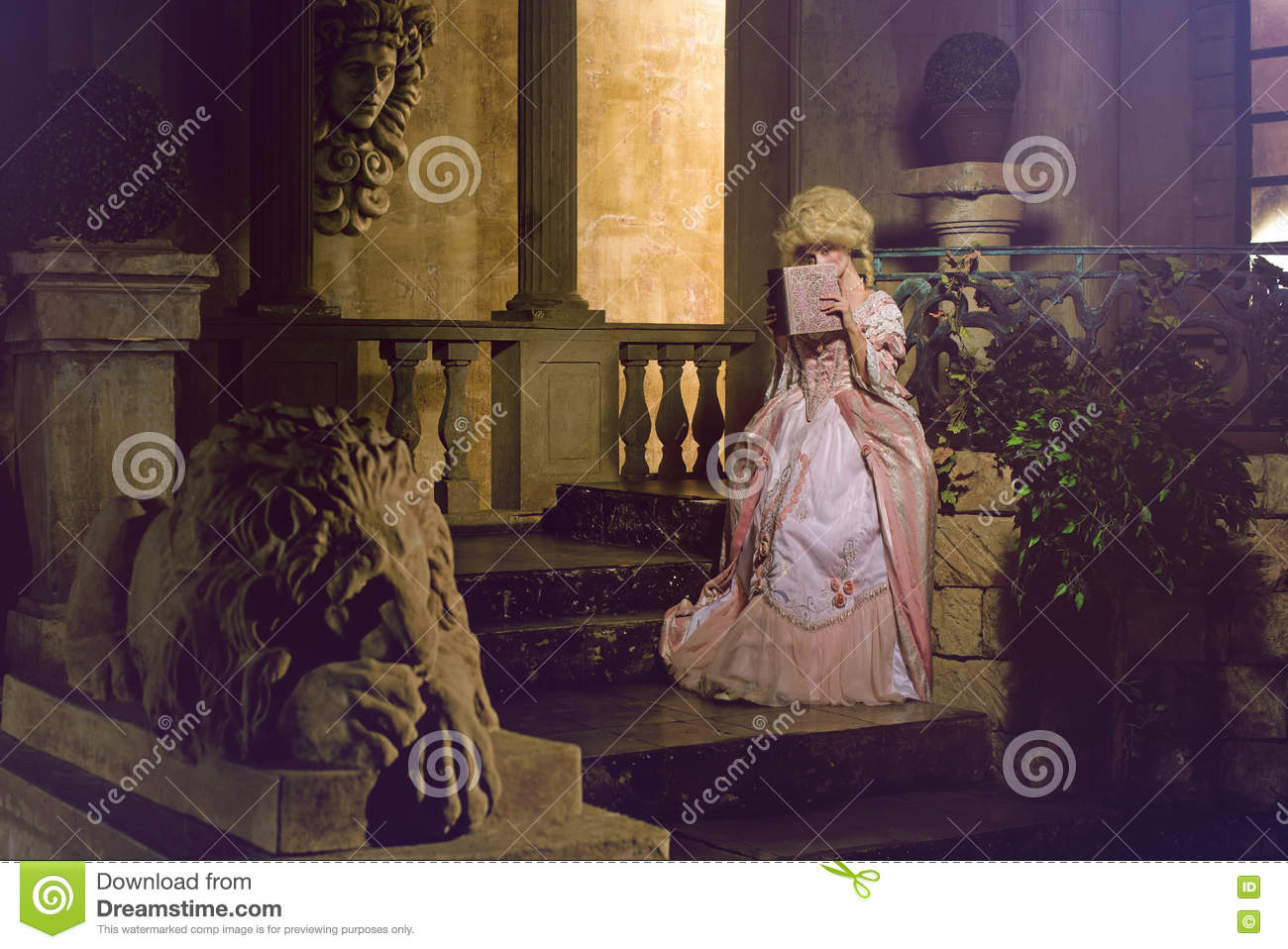 Young woman in eighteenth century image posing in vintage exterior