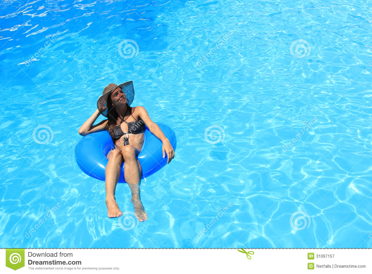 Young woman enjoying the swimming pool royalty free stock for Obi easy pool