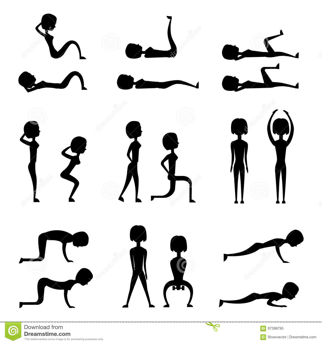 Young Woman Is Exercising At Home Fitness Character Workout Healthy ...