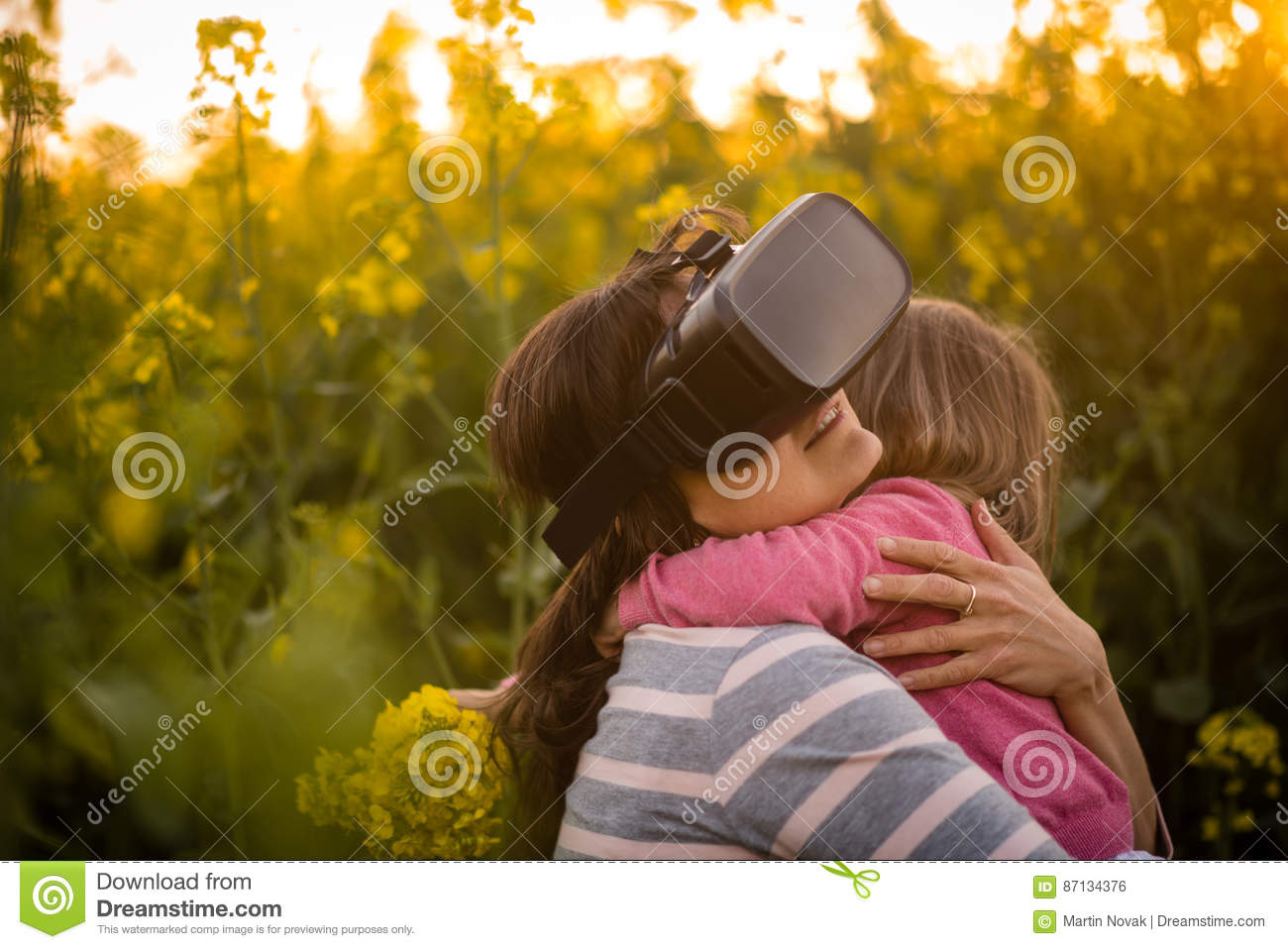 Young Woman Experience With Virtual Reality  Hugging Her