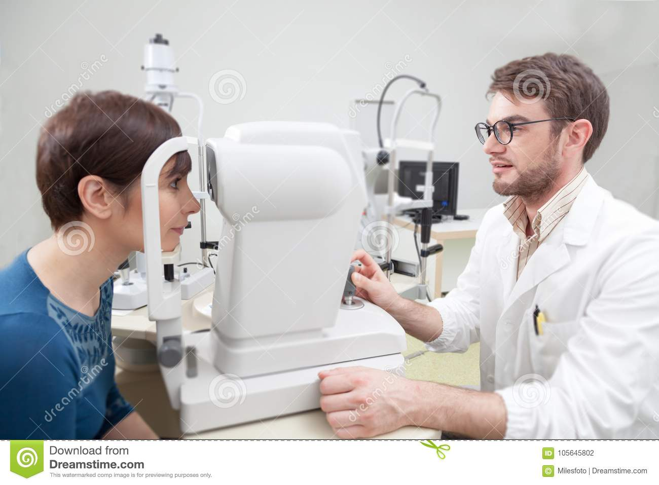 d43f8eb5f7e3 Young Woman During An Eye Exam With The Ophthalmologist Stock Photo ...