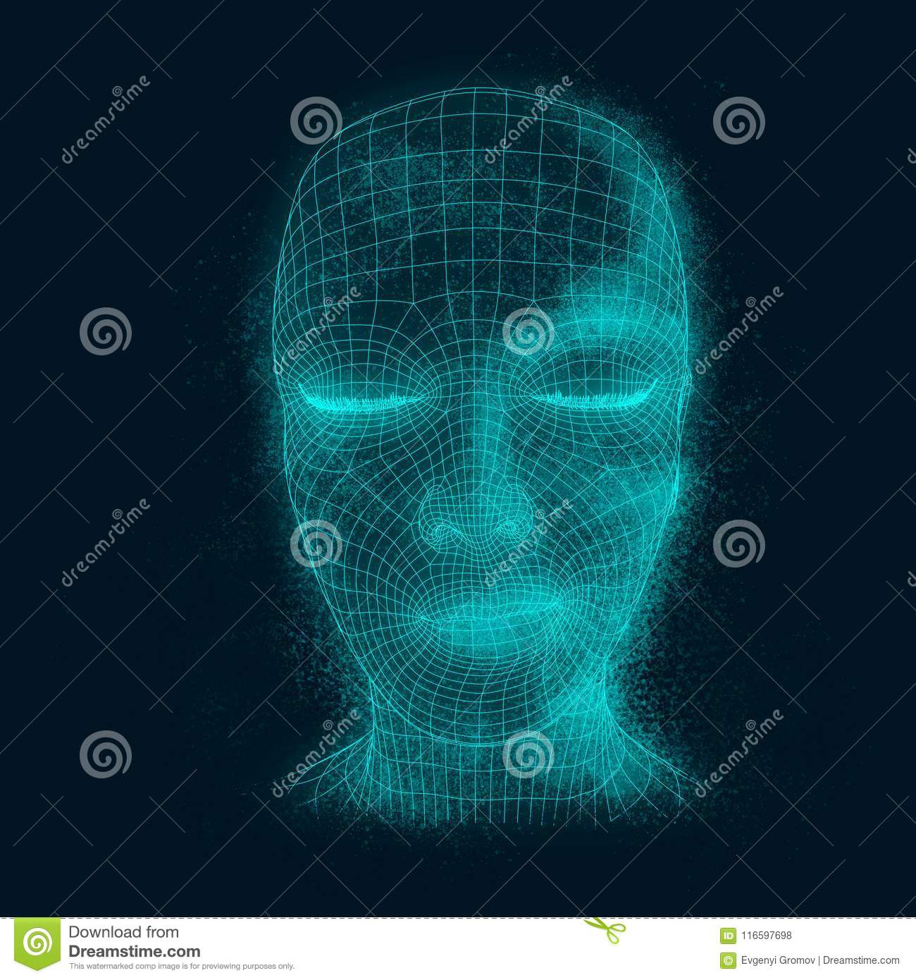 Lady from a 3d Grid. stock photo. Image of biotechnology - 116597698