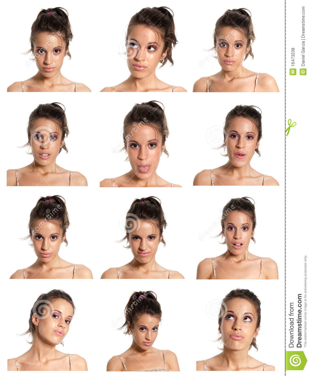 Young woman face expressions composite isolated